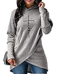 1bc0339dac Women Casual Long Sleeve Faith Letter Printed Hoodie Sweatshirt with  Pockets  woman  fashion