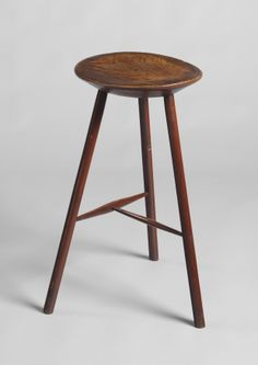 Rare Georgian Oval Top Three Leg Candlestand With Thick Champhered Single Plank Top, Sold Well Figured Ash with Traces of Historic Painted Surface, English, c1800. (British and European Country Furniture & Folk Art at Robert Young Antiques) #BritishFolkArt