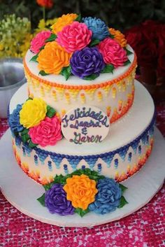 mexican fiesta wedding shower theme Gorgeous cake at a Mexican Fiesta Bridal Shower # . Mexican Birthday Parties, Mexican Fiesta Party, Fiesta Theme Party, Mexican Fiesta Decorations, Gorgeous Cakes, Cake Creations, Shower Cakes, Eat Cake, Cake Decorating