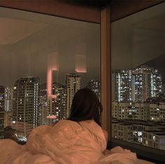 Beautiful cityscape bedroom window view on We Heart It