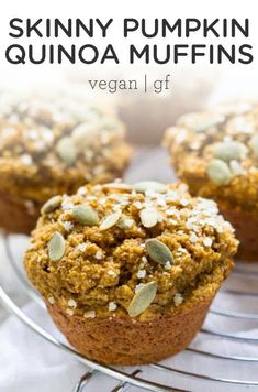 These skinny pumpkin quinoa muffins are made without any oils, eggs, or dairy! They're easy to make, ultra fluffy, and vegan and gluten-free. Plus, they're naturally sweetened and seriously delicious! The BEST moist muffin recipe, great for a crowd this fall or thanksgiving.