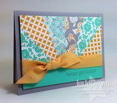 Sunburst Get Well HandStamped Stampin' Up Card by JulieLouDesigns