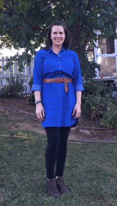 091bf2ef52 Chambray Dress + Leggings + Ankle Boots + Belt - Having a hard time styling  your  leggings  Moms just like you modeling how to wear leggings -  non-frumpy