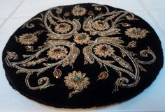 1920's Clutch Purse Black Velvet Round Beaded And Woven Metal Thread Floral Gorgeous