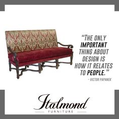 Italmond Custom Furniture delivers timeless craftsmanship and an unwavering devotion to flawless finishing and has earned the respect and won the loyalty of the world's most accomplished and extraordinary designers. Fashion Quotes, Design Quotes, Custom Furniture, Outdoor Furniture, Outdoor Decor, Couch, Home Decor, Style, Bespoke Furniture