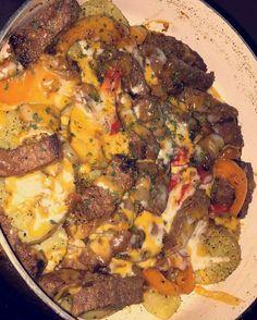 Steak & potatoes w/ A1 sauce