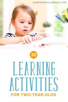 Discover 30 fun and simple learning activities for 2 year olds! Teaching children doesn't have to be complicated! From educational to outdoor to craft activities and more, you'll have a month-long list of ideas to do with your toddler. Activities For 2 Year Olds, Toddler Learning Activities, Educational Activities, Preschool Activities, Teaching Kids, Kids Learning, Family Activities, 2 Year Old Development, Child Development