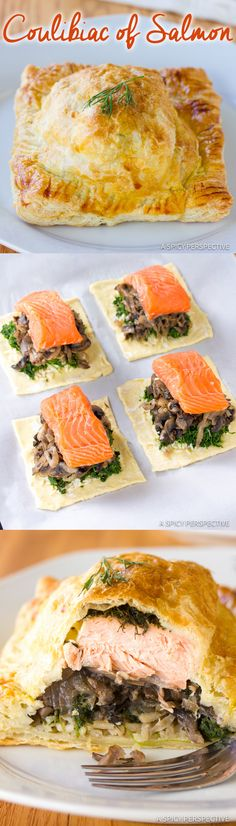 Classic Coulibiac of Salmon Recipe | ASpicyPerspective.com #holiday