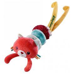 Vibrador de peluche con forma de gatita que vibra cuando se tira de su cuerpo. Es ideal para que los bebés desarrollen sus sentidos. Está fabricado con algodón y poliéster y es muy suave al tacto.