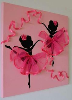 DIY Tutu Ballerina Canvas Wall Art Tutorial, with ribbons, canvas, and a ballerina template. great for girl room decoration or gift delivery Kids Crafts, Diy And Crafts, Craft Projects, Projects To Try, Arts And Crafts, Paper Crafts, Simple Projects, Art Crafts, Summer Crafts