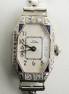 Vintage Miss Waltham Ladies Diamond and Sapphire Watch on Etsy, $1,150.00