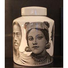 Large Ceramic Tribal Faces Jar
