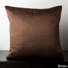 Satin Sqaure Ribbed Feather or Poly Filled Decorative Throw Pillow (Brown - Poly Filled-(18x18)), Size 18 x 18 (Polyester, Textured)