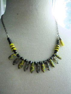 Silver and Yellow Peacock Necklace Silver and Gray by gardendiva
