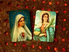 Lenticular Images St. Lucia and Sacred Heart of Mary. $4.00, via Etsy.  #kitsch #religious