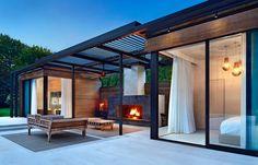 Big Pools, Small Backyard Pools, Backyard Landscaping, Exterior Wall Design, Gazebo, Pergola, Pool House Designs, Rustic Patio, Metal Buildings