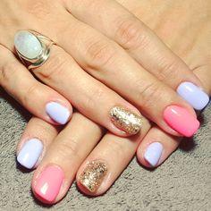 pastel, blue, pink, gold, glitter, nails, accent nail, gelish, shellac, gellac, nail art,