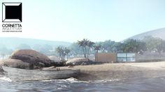 Projeto para casa container na praia mesclando-se a bela paisagem. Pense bem, pense diferente! #cornetta #arquitetura #casascontainer #casaconteiner #prefab #small #houses