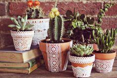 lace-embellished terracotta pots