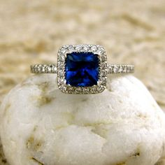 Princess Cut 1.08 ct Blue Sapphire Platinum Engagement Ring with Diamonds @Michelle Sager