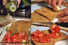 A bruschetta készítése, recept - Borsa. Bruschetta, Mexican, Dinner, Ethnic Recipes, Food, Party, Dining, Food Dinners, Essen