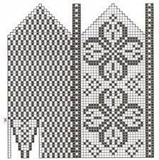 Bilderesultat for selbu mønster diagram Crochet Stitches Patterns, Crochet Chart, Crochet Designs, Stitch Patterns, Knitting Patterns, Knitted Mittens Pattern, Knit Mittens, Knitting Socks, Mitten Gloves