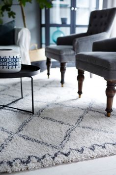 The carpet. From Ellos Home. Scandinavian Interior, Living Room Inspiration, Elle Decor, Sweet Home, New Homes, House Design, Flooring, Interior Design, Rugs