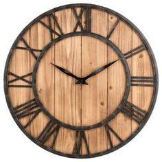 Horloge murale en bois muette ronde Salon - Achat / Vente horloge - pendule    - Cdiscount