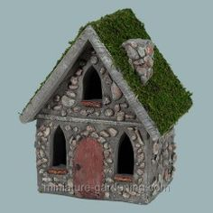 Easy DIY fairy house. Could buy a birdhouse, paint it, and superglue some rocks for decoration. They'd be cute hidden in a garden.