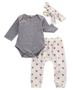 Staron  Newborn Baby Boy Girls Floral Hoodie Tops Pants Headband Pockets Outfits Set