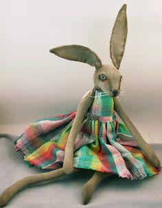 Folk Art Rabbit doll painted cloth soft by CindyRiccardelli