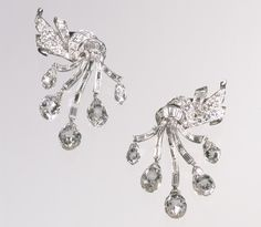 Earrings by Van Cleef and Arpels, 1948. Diamonds and platinum.