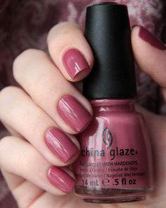 Fifth Avenue, #China_Glaze - dark rosy mauve (antique pink) creme nail polish/lacquer
