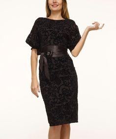 Look what I found on #zulily! Carmen Black Damask Belted Midi Dress by Carmen #zulilyfinds