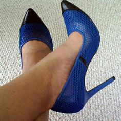 """Blue Mesh Heels 4"""" heels, blue mesh with black faux leather toe cap, pointed toe, padded insole, never worn ShoeDazzle  Shoes Heels"""