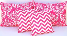 Pillow Sham Standard Combo Decorative Pillow Covers Full Queen Bedding 19 x 25 and 16 x 16 Inches Hot Pink and White Damask and Chevron