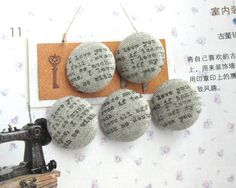 Fabric Buttons Fridge Magnets Covered Buttons Word by RetroNaNa, $5.00 Covered Buttons, Script, Magnets, Crochet Earrings, Mini, Fabric, Tejido, Script Typeface, Tela