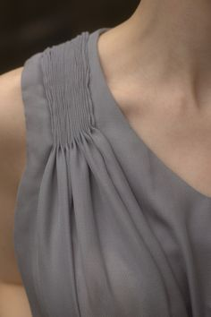 Fine pleating on blouse shoulder | Indigo Orchid
