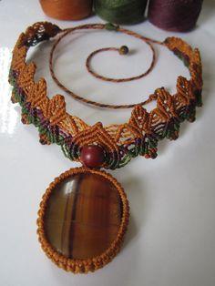 Fluorite Macrame Necklace Handmade with natural fluorite gemstone cabochon