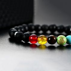 Womens Mens 8mm Healing Energy GemStones Chakra Bracelets Natural Lava Rock Stones Charms Bracelets -- More details can be found by clicking on the image. #WomensJewelry
