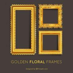 Conjunto de marcos de flores dorados