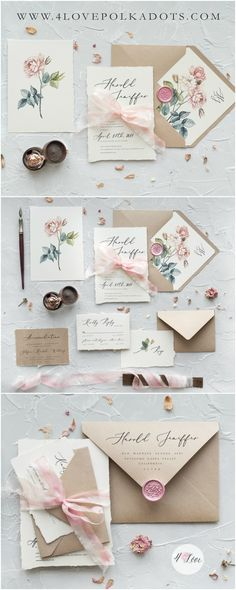 Calligraphy floral wedding invitations with envelopes liners and dyed silk ribbon. The elegant design is reflected through the unique details of the calligraphy and subtle florals. Romantic and delicate with vintage touch #handmade