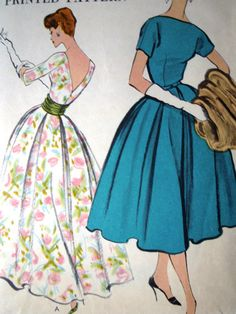 Vintage 1950s Vogue 9378 Dress Cummerbund Sewing by FoxVintageUk