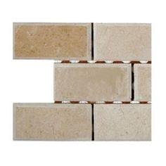 Ivy Hill Tile Crema Marfil 2 in. x 4 in. Chamfered Marble Mosaic Tile - The Home Depot Kitchen Backsplash Photos, Shower Backsplash, Splashback Tiles, Backsplash Ideas, Bathroom Flooring, Marble Mosaic, Mosaic Tiles, Wall Tiles, Trendy Tree
