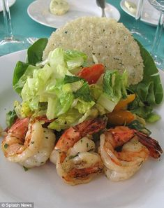 California chopped salad with parmesan frico and marinated giant shrimp