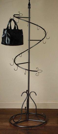 Coat Umbrella Rack Spiral Wide Base Metal Coat Rack Umbrella Stand Home / Office