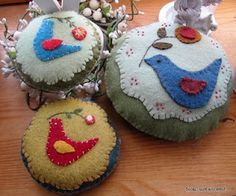 pincushions- a nice way to practice applique