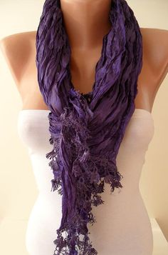 Purple Scarf with Purple Trim Edge  New by SwedishShop on Etsy, $19.90