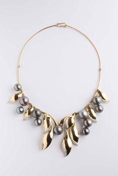 Girocollo con perle Tahiti e diamanti con elementi mobili
