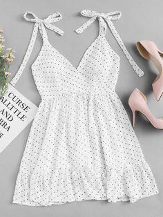 Polka Dot Ruffle Hem Cami DressFor Women-romwe